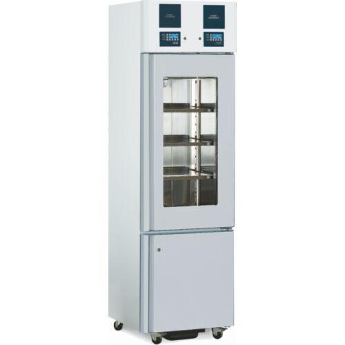 Laboratóriumi hűtő/fagyasztóberendezés 180/100 literes üvegajtós hűtőszekrénnyel