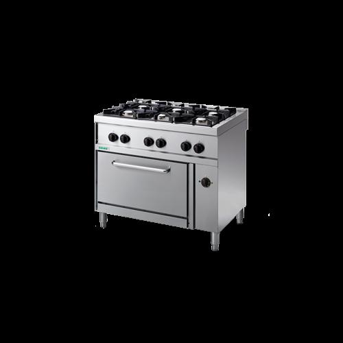 Giga 6 égős gáztűzhely őrlánggal és elektromos légkeveréses sütő