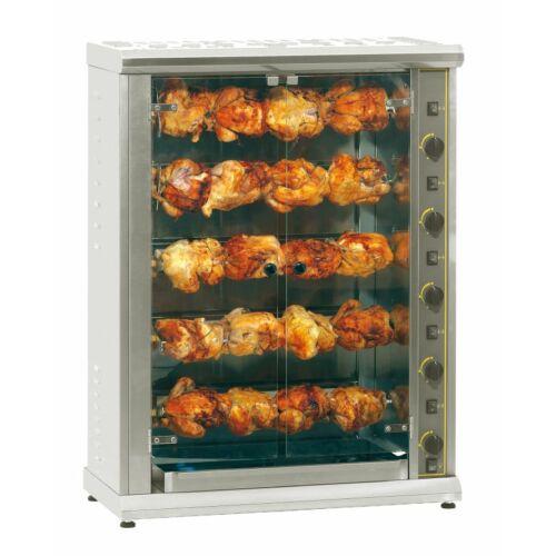 Roller Grill RBE 200 elektromos kvartz grillcsirke sütő, 5 nyárssal, 20 csirkéhez, melegentartó alsó tálcával