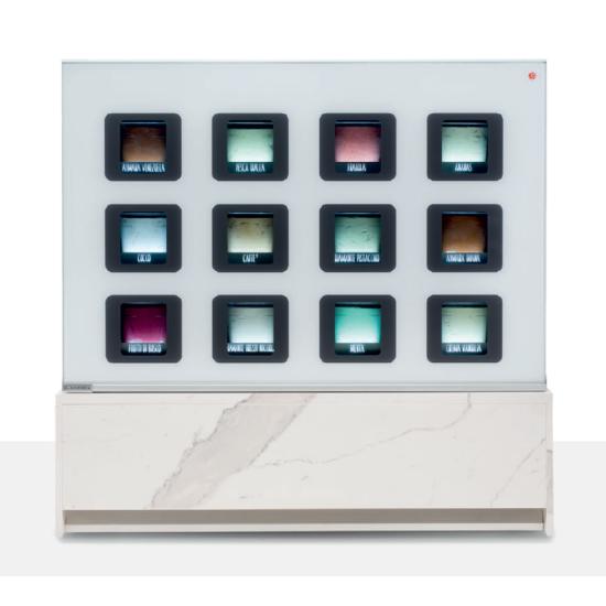 INSU 12 tégelyes high-tec fagylaltpult MDF front panellel és oldalelemekkel