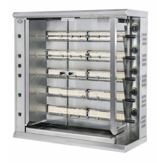 Roller Grill RBG 30 gázüzemű grillcsirke sütő, 5 nyárssal, 30 csirkéhez, melegentartó alsó tálcával
